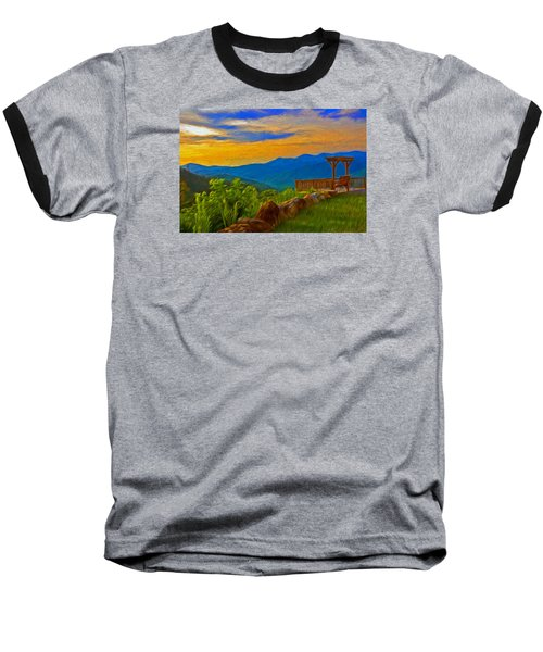 Blue Ridge Sunset From Mama Gertie's Hideaway Baseball T-Shirt