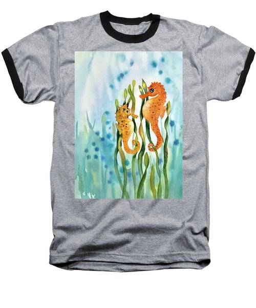 Mamma And Baby Seahorses Baseball T-Shirt