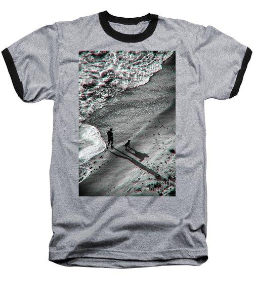 Man And Dog On The Beach Baseball T-Shirt
