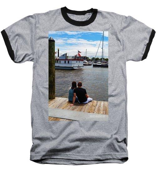 Man And Woman Sitting On Dock Baseball T-Shirt