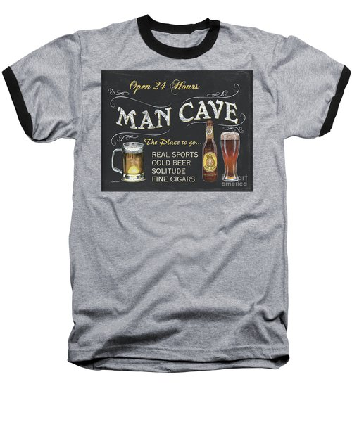 Man Cave Chalkboard Sign Baseball T-Shirt by Debbie DeWitt