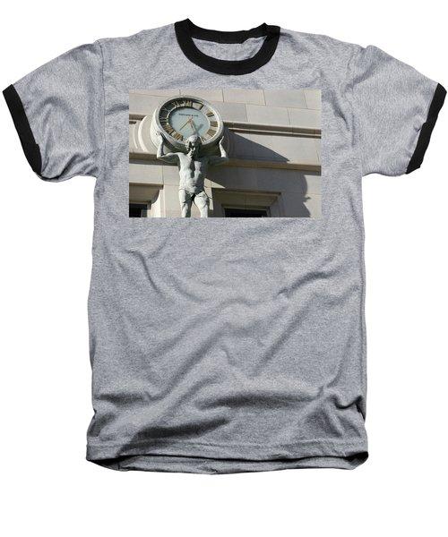 Man Holding Up Time Baseball T-Shirt