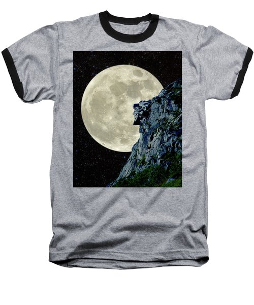 Man In The Moon Meets Old Man Of The Mountain Vertical Baseball T-Shirt by Larry Landolfi