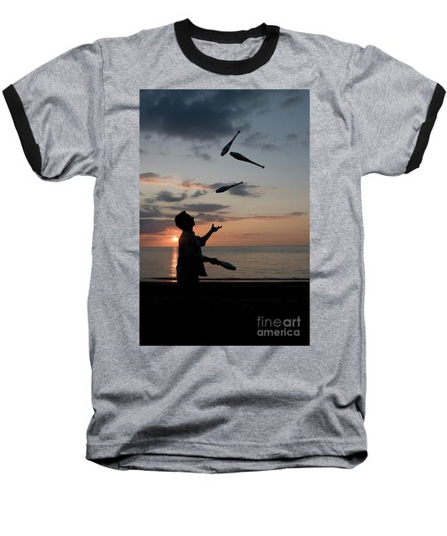 Man Juggling With Four Clubs At Sunset Baseball T-Shirt