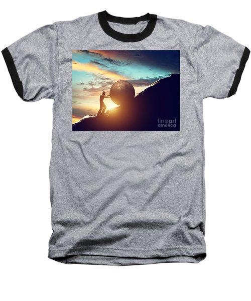 Man Rolling Huge Concrete Ball Up Hill Baseball T-Shirt