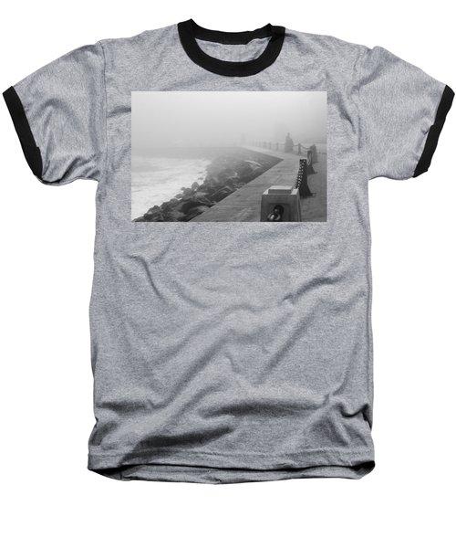 Man Waiting In Fog Baseball T-Shirt