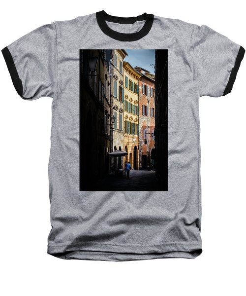 Man Walking Alone In Small Street In Siena, Tuscany, Italy Baseball T-Shirt