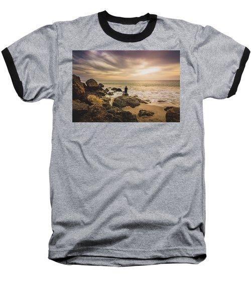 Man Watching Sunset In Malibu Baseball T-Shirt