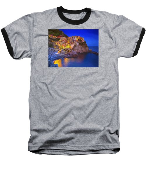 Manarola By Moonlight Baseball T-Shirt by Dominic Piperata