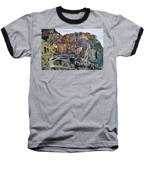 Baseball T-Shirt featuring the photograph Manarola Cinque Terre Italy by Frozen in Time Fine Art Photography
