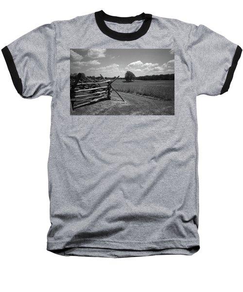 Baseball T-Shirt featuring the photograph Manassas Battlefield Bw by Frank Romeo