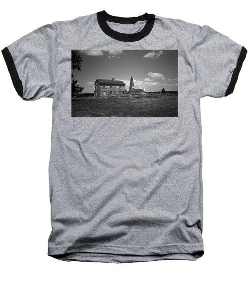 Baseball T-Shirt featuring the photograph Manassas Battlefield Farmhouse 2 Bw by Frank Romeo