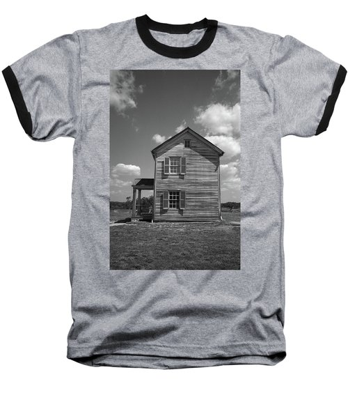 Baseball T-Shirt featuring the photograph Manassas Civil War Battlefield Farmhouse Bw by Frank Romeo