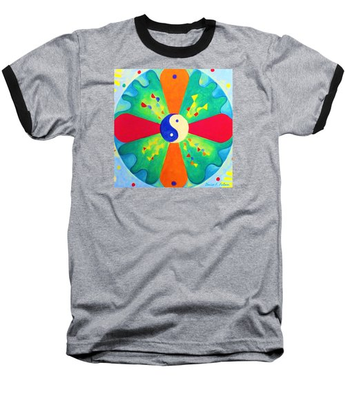 Baseball T-Shirt featuring the painting Mandala by Denise Fulmer
