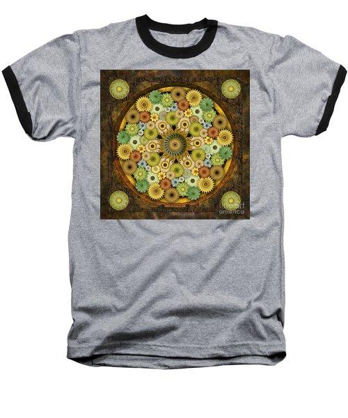 Mandala Stone Flowers Baseball T-Shirt