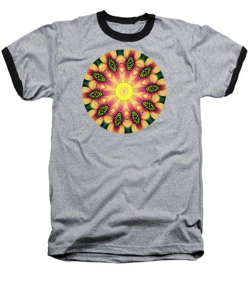 Mandala Yellow Burst Baseball T-Shirt by Hao Aiken