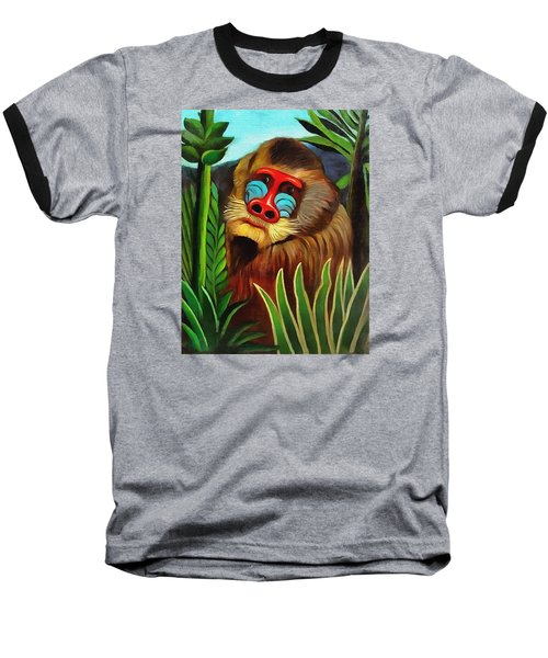 Mandrill In The Jungle Baseball T-Shirt by Henri Rousseau