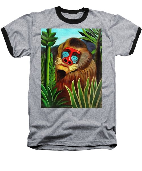 Mandrill In The Jungle Baseball T-Shirt