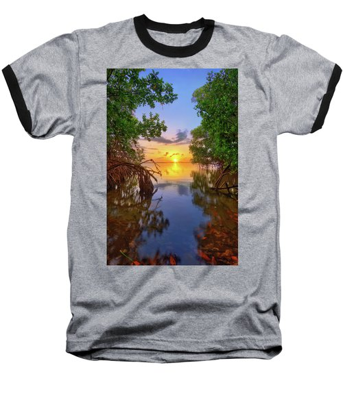 Mangrove Sunset From Jensen Beach Florida Baseball T-Shirt by Justin Kelefas