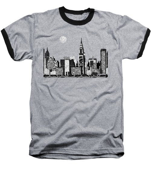 Manhattan At Night New York Swings Baseball T-Shirt by Cecely Bloom