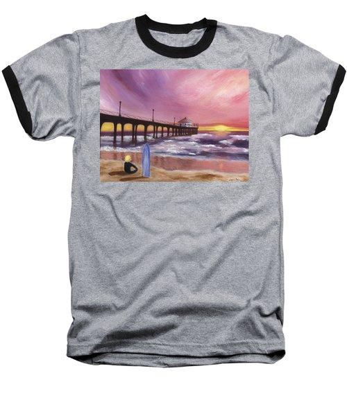 Manhattan Beach Pier Baseball T-Shirt by Jamie Frier