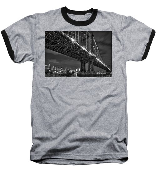 Manhattan Bridge Frames The Brooklyn Bridge Baseball T-Shirt