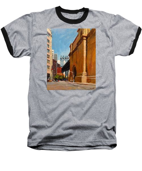 Manhattan Bridge From  Front Street, Brooklyn Baseball T-Shirt