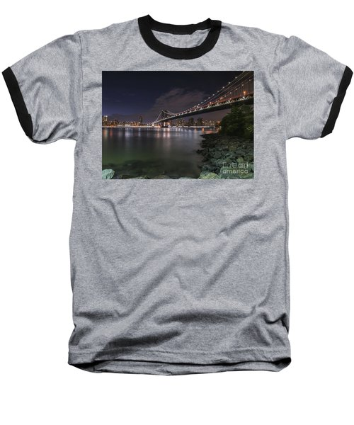 Manhattan Bridge Twinkles At Dusk Baseball T-Shirt