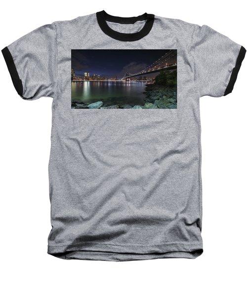 Manhattan Bridge Twinkles At Night Baseball T-Shirt
