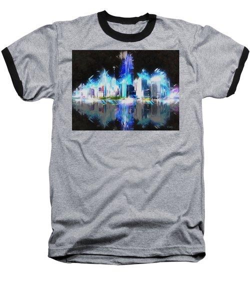 Manhattan Downtown Lights Baseball T-Shirt by Kai Saarto