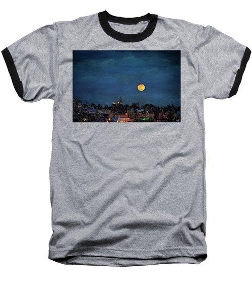 Manhattan Moonrise Baseball T-Shirt by Chris Lord