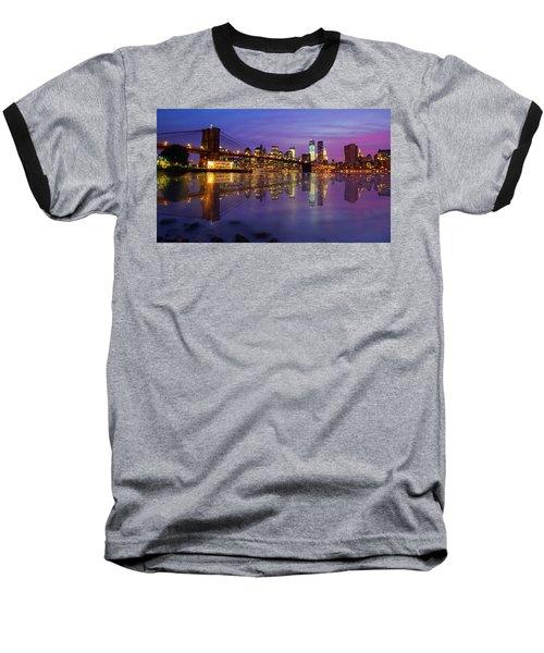 Baseball T-Shirt featuring the photograph Manhattan Reflection by Mircea Costina Photography