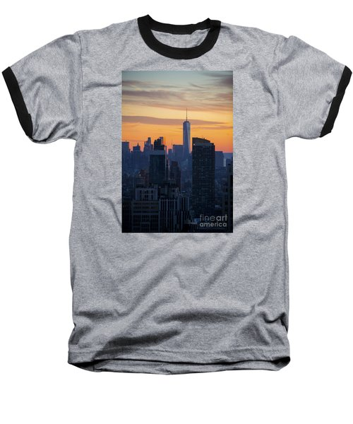 Manhattan Skyline At Dusk Baseball T-Shirt by Diane Diederich
