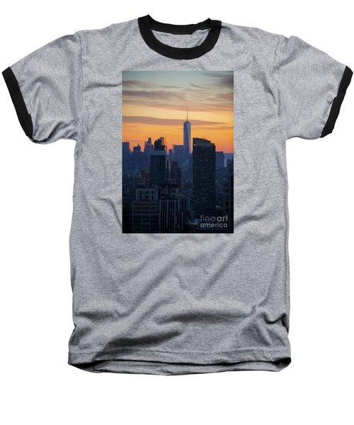 Manhattan Skyline At Dusk Baseball T-Shirt