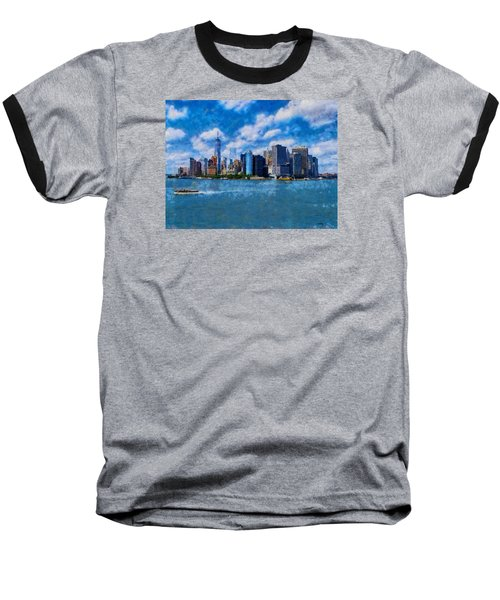 Manhattan Skyline Baseball T-Shirt by Kai Saarto