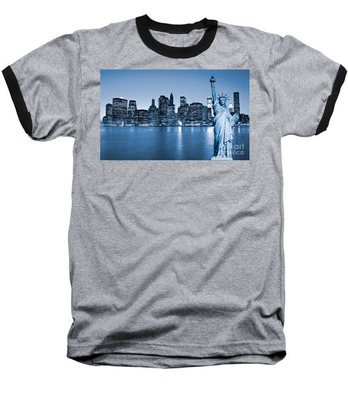 Manhattan Skyline Baseball T-Shirt