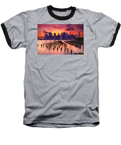 Baseball T-Shirt featuring the photograph Manhattan Sunset by Rima Biswas
