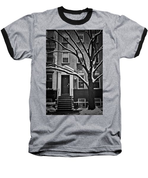 Manhattan Town House Baseball T-Shirt by Joan Reese