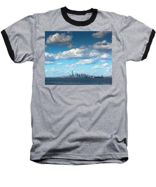 Manhattan With Clouds Baseball T-Shirt