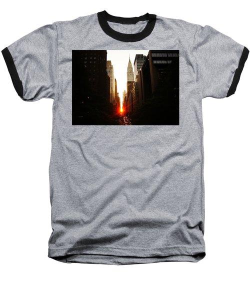 Manhattanhenge Sunset Over The Heart Of New York City Baseball T-Shirt by Vivienne Gucwa