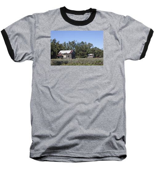 Manning Cotton Field With Barns Baseball T-Shirt by Suzanne Gaff