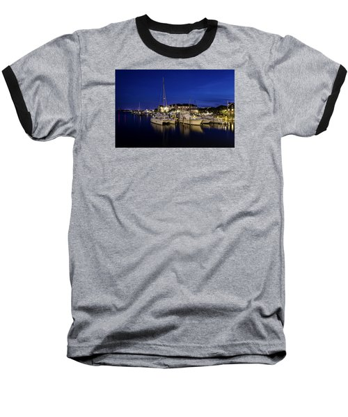 Manteo Waterfront Marina At Night Baseball T-Shirt