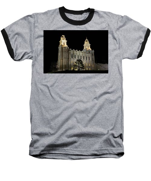 Manti Temple Night Baseball T-Shirt
