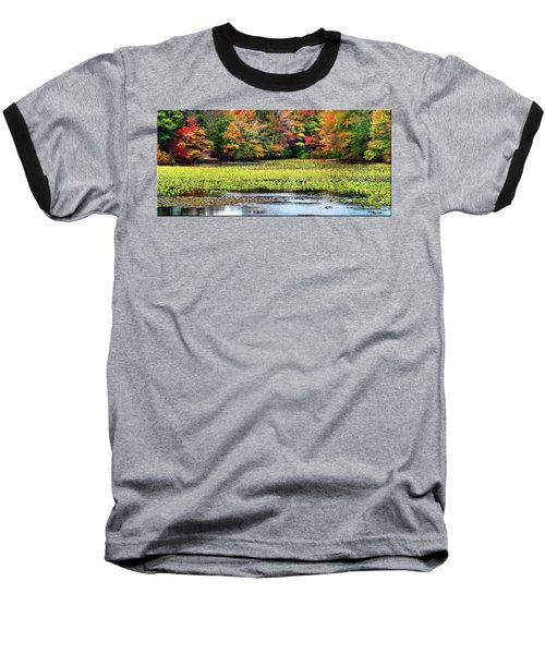 Many Colors Of Autumn Baseball T-Shirt by Mikki Cucuzzo