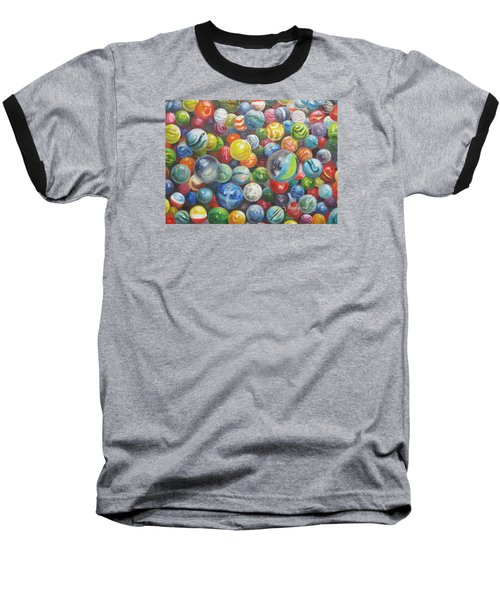 Baseball T-Shirt featuring the painting Many Marbles by Oz Freedgood