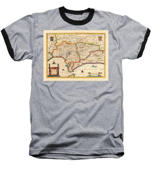 Map Of Andalusia 1650 Baseball T-Shirt by Andrew Fare