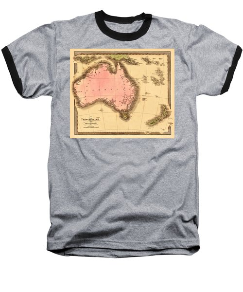 Map Of Australia 1840 Baseball T-Shirt by Andrew Fare