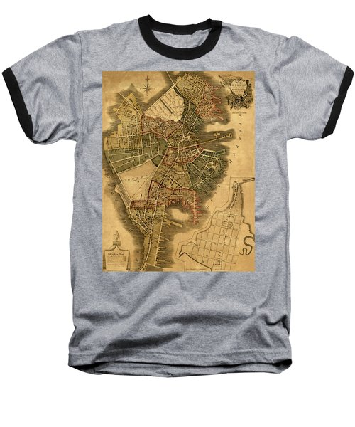 Map Of Boston 1814 Baseball T-Shirt by Andrew Fare