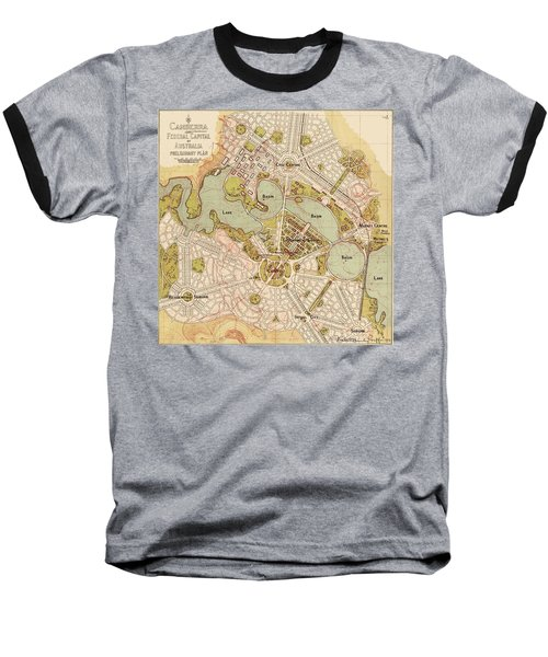 Map Of Canberra 1913 Baseball T-Shirt by Andrew Fare