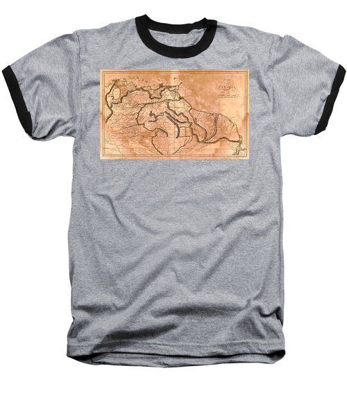 Map Of Caracas 1814 Baseball T-Shirt by Andrew Fare